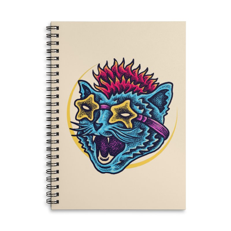 Funky Cat style Accessories Lined Spiral Notebook by barmalisiRTB
