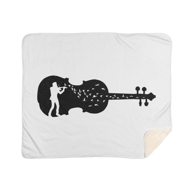 Violinist Home Sherpa Blanket Blanket by barmalisiRTB