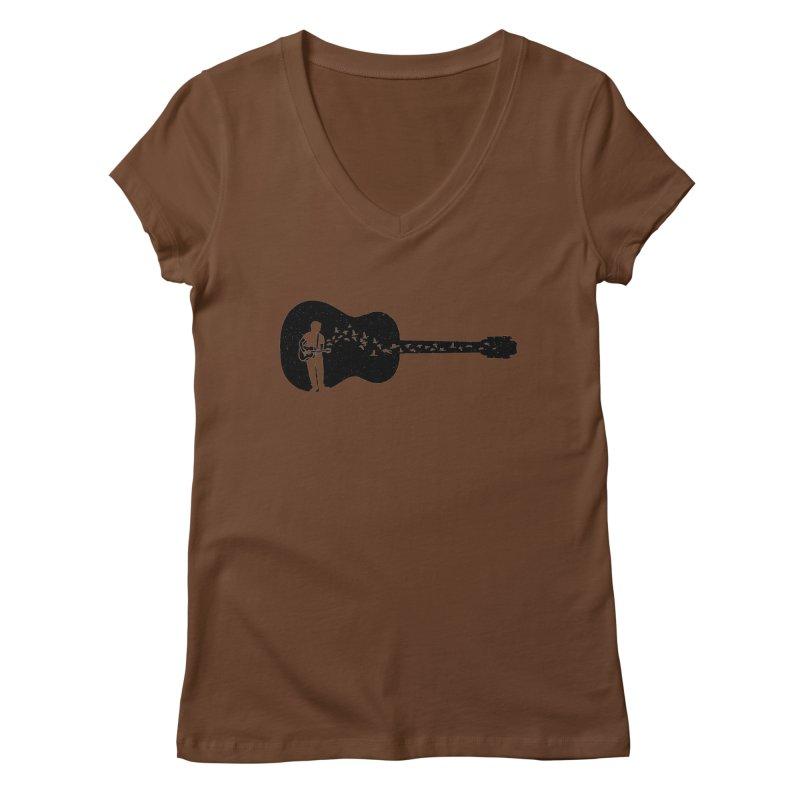 Guitar classical guitarist Women's Regular V-Neck by barmalisiRTB