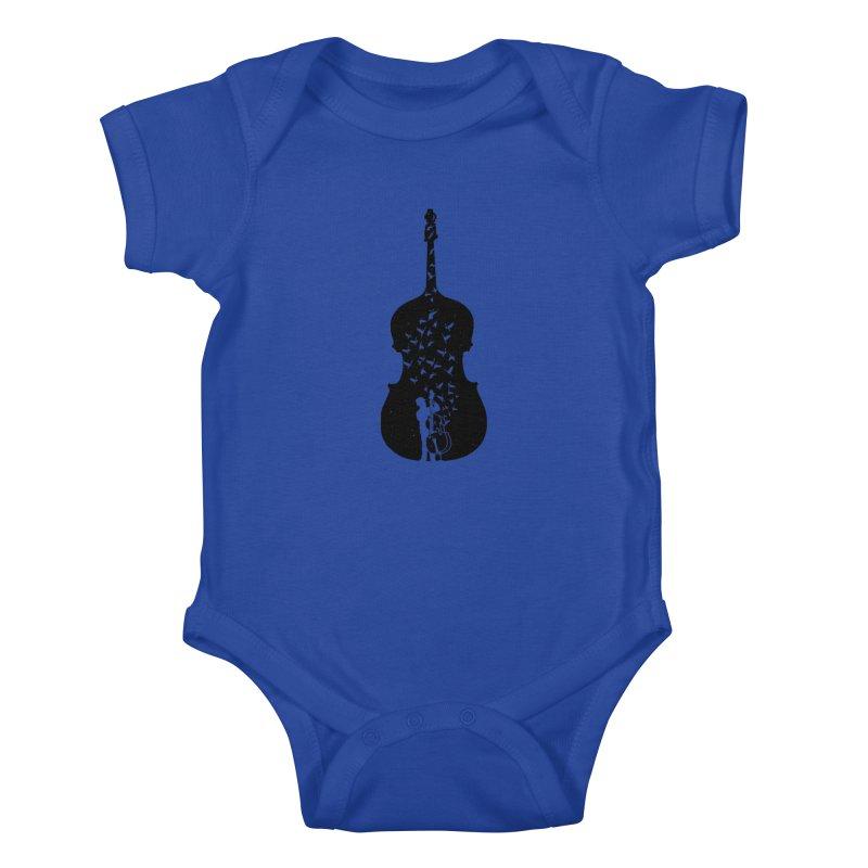 Double bass Kids Baby Bodysuit by barmalisiRTB