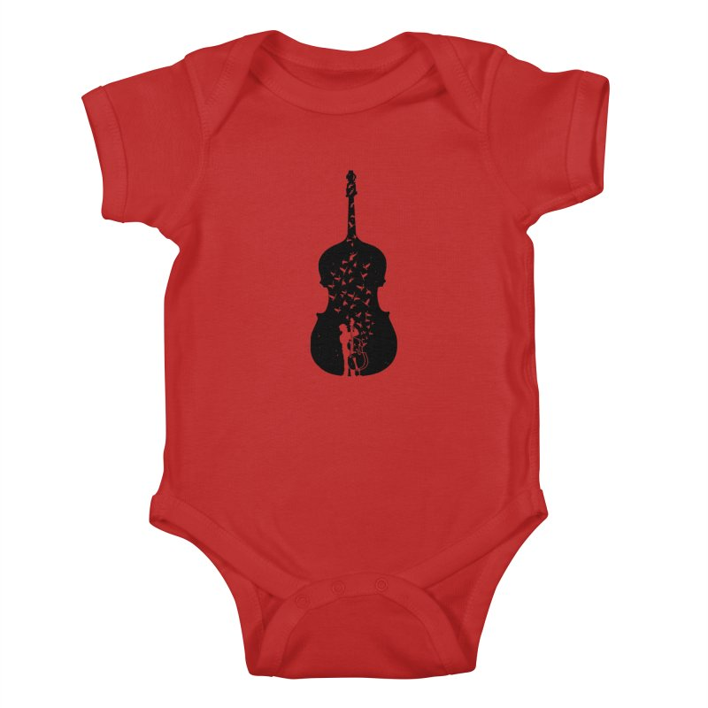 Double bass Kids Baby Bodysuit by barmalisiRTB