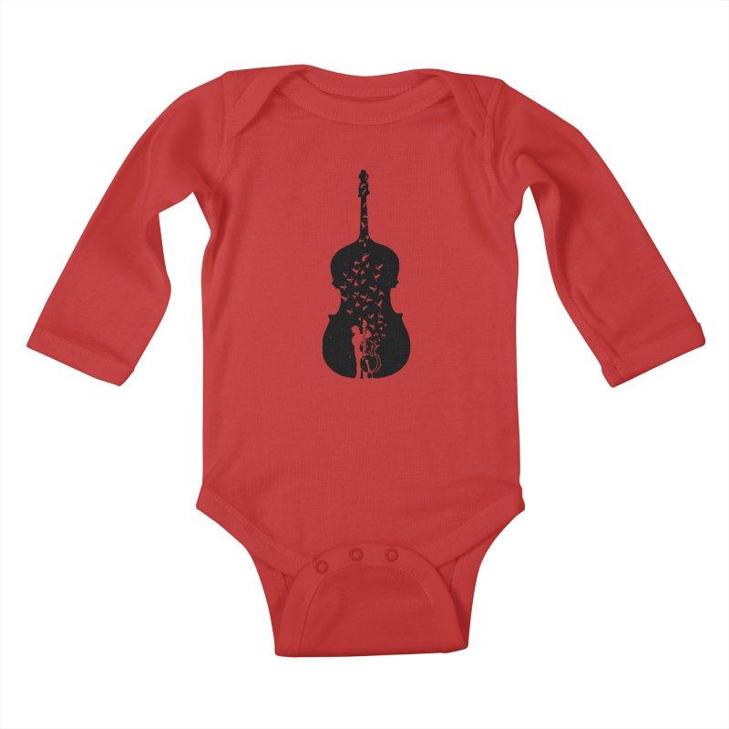 Double bass Kids Baby Longsleeve Bodysuit by barmalisiRTB