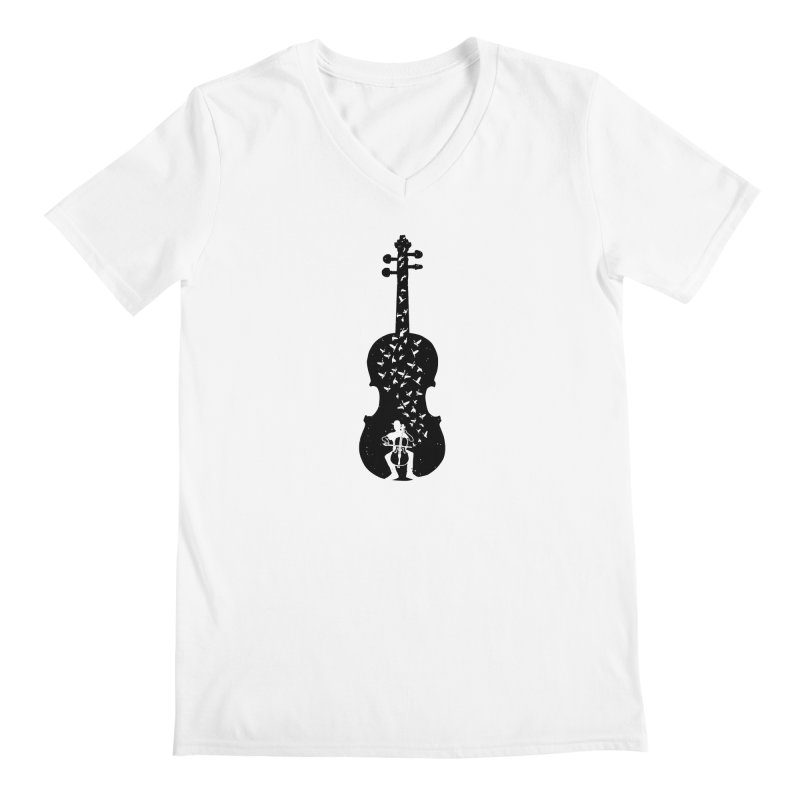Cello - Playing Cello Men's V-Neck by barmalisiRTB