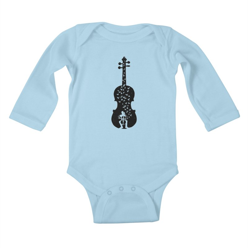 Cello - Playing Cello Kids Baby Longsleeve Bodysuit by barmalisiRTB
