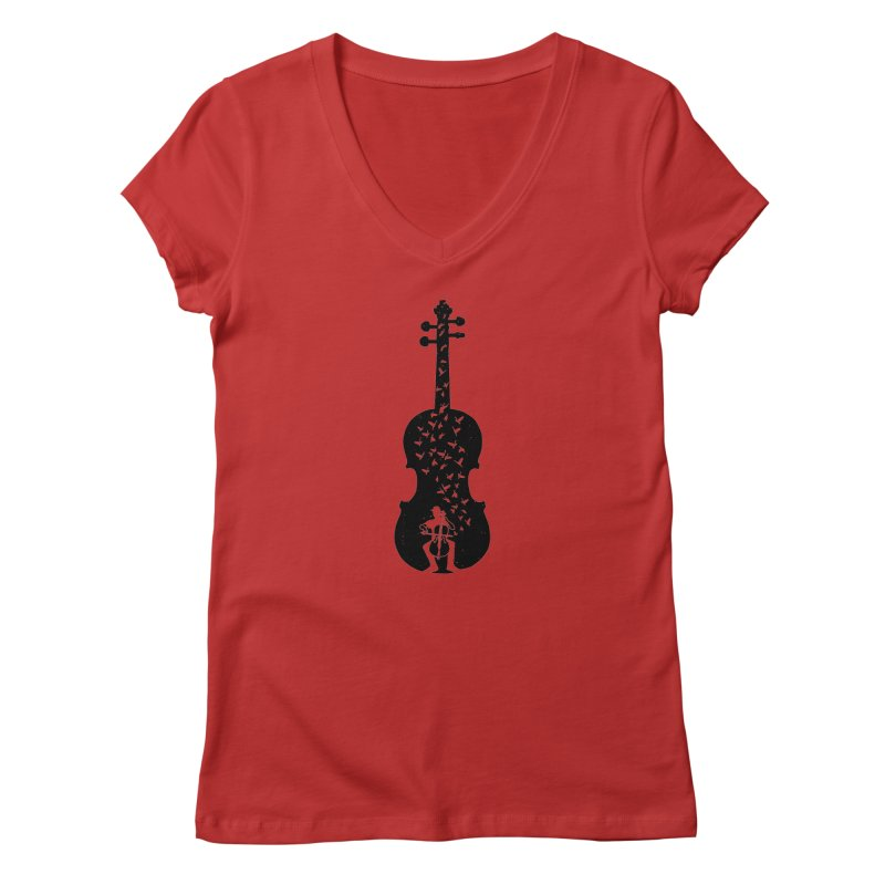 Cello - Playing Cello Women's Regular V-Neck by barmalisiRTB