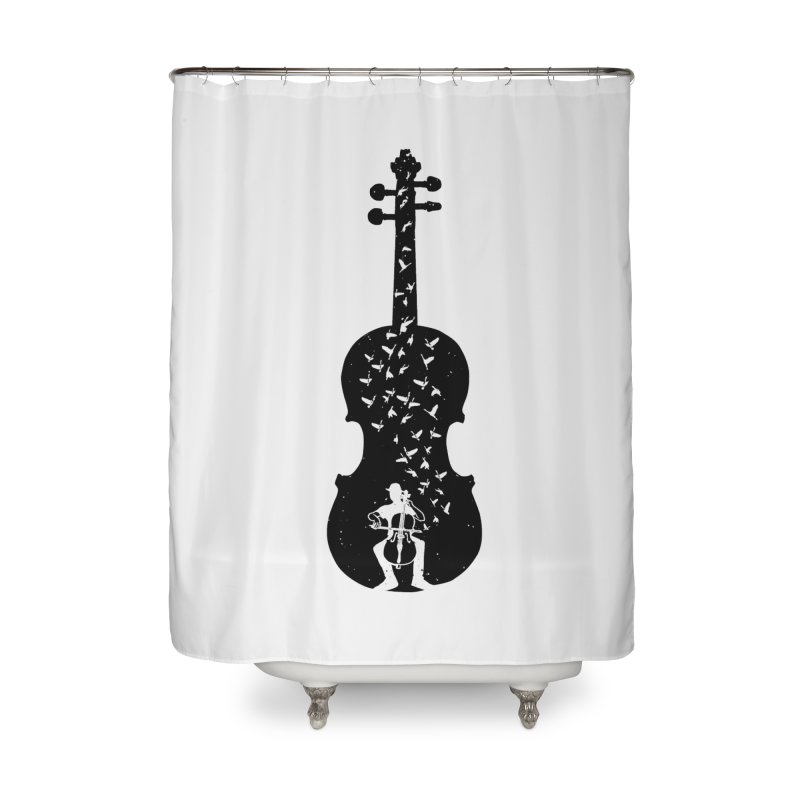 Cello - Playing Cello Home Shower Curtain by barmalisiRTB