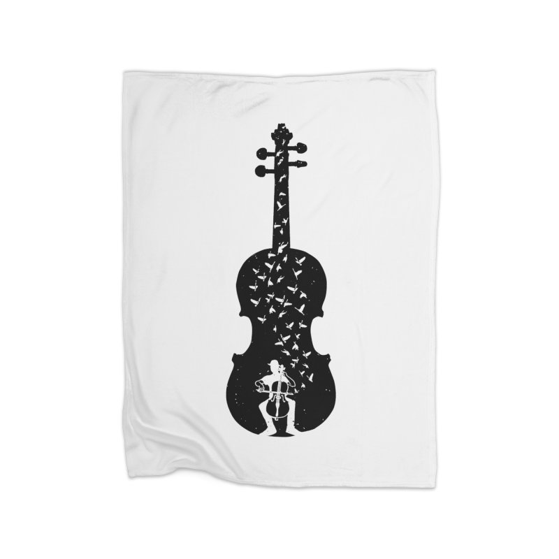 Cello - Playing Cello Home Blanket by barmalisiRTB