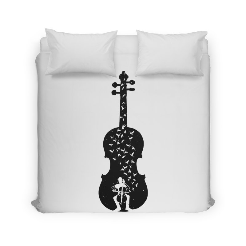 Cello - Playing Cello Home Duvet by barmalisiRTB