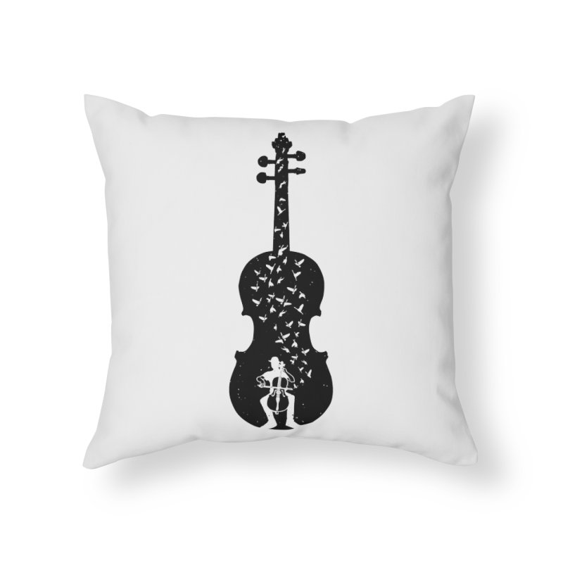 Cello - Playing Cello Home Throw Pillow by barmalisiRTB