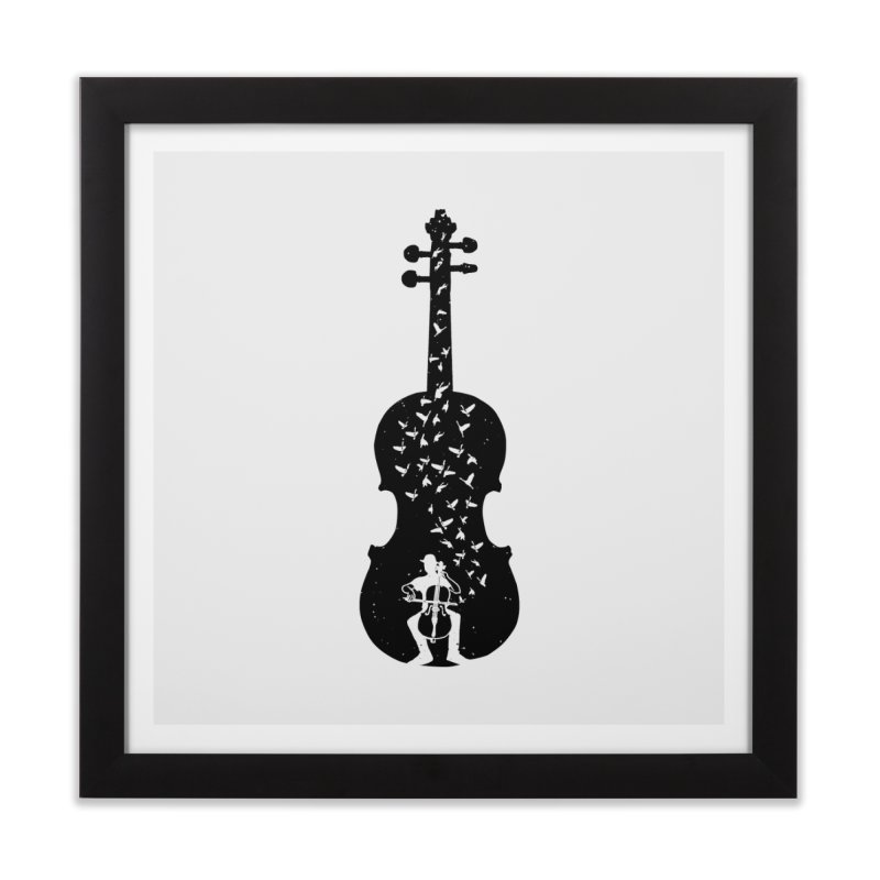 Cello - Playing Cello Home Framed Fine Art Print by barmalisiRTB