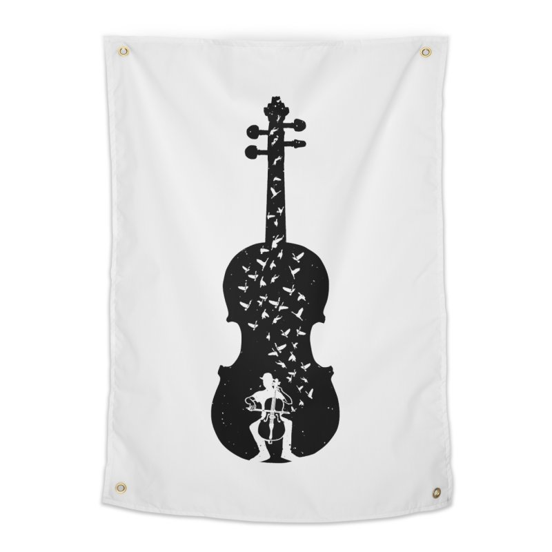 Cello - Playing Cello Home Tapestry by barmalisiRTB