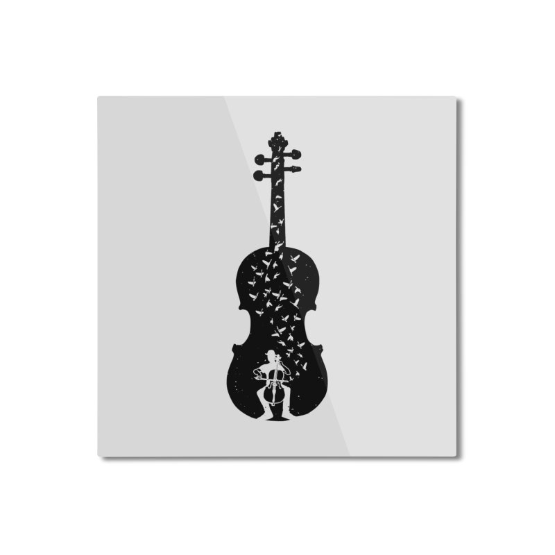 Cello - Playing Cello Home Mounted Aluminum Print by barmalisiRTB