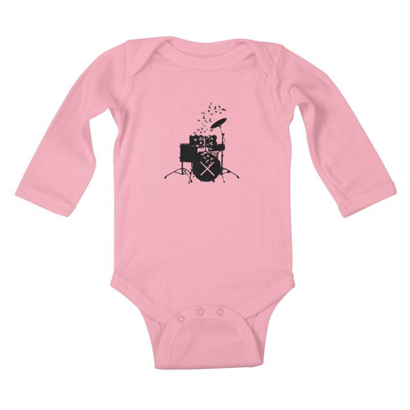 Drum - Drummers Kids Baby Longsleeve Bodysuit by barmalisiRTB