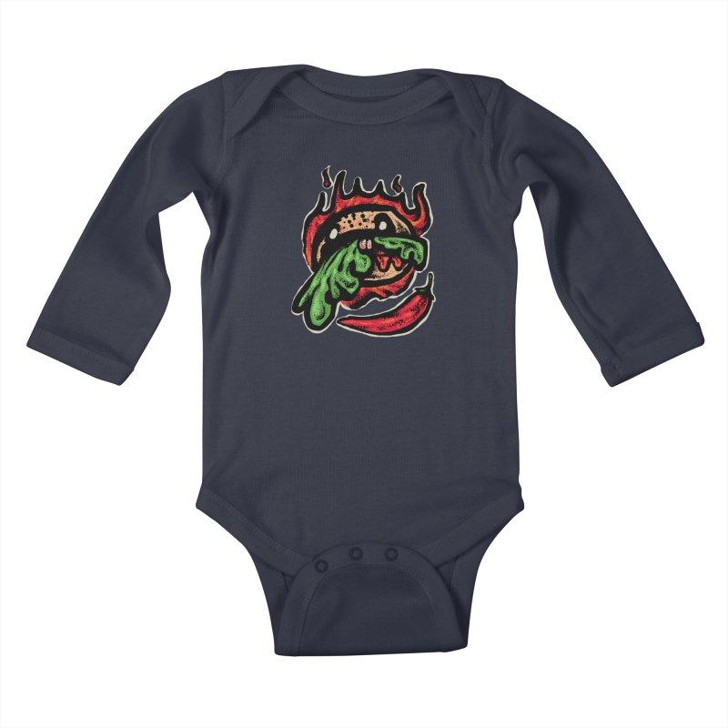 Hot Spicy Burger Kids Baby Longsleeve Bodysuit by barmalisiRTB