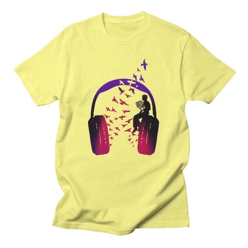 Headphone Music French Horn Men's T-Shirt by barmalisiRTB
