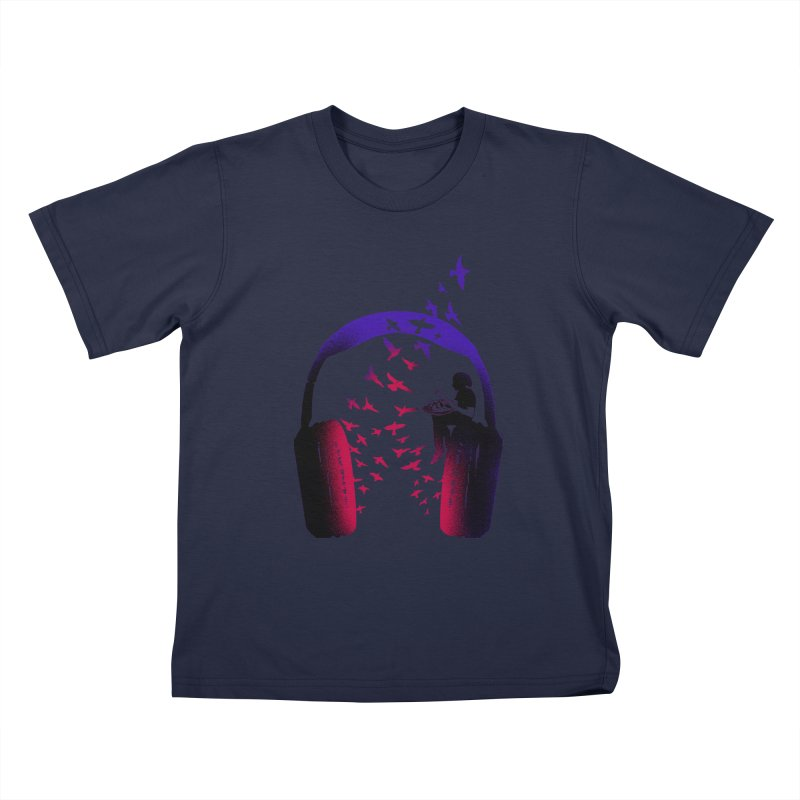Headphone Music Hang Drum Kids T-Shirt by barmalisiRTB