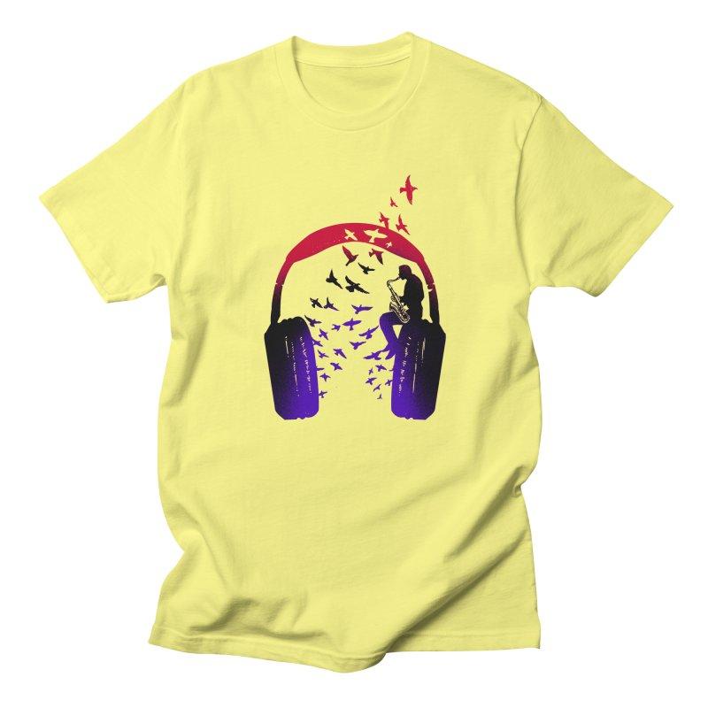 Headphone Music Saxophone Men's T-Shirt by barmalisiRTB
