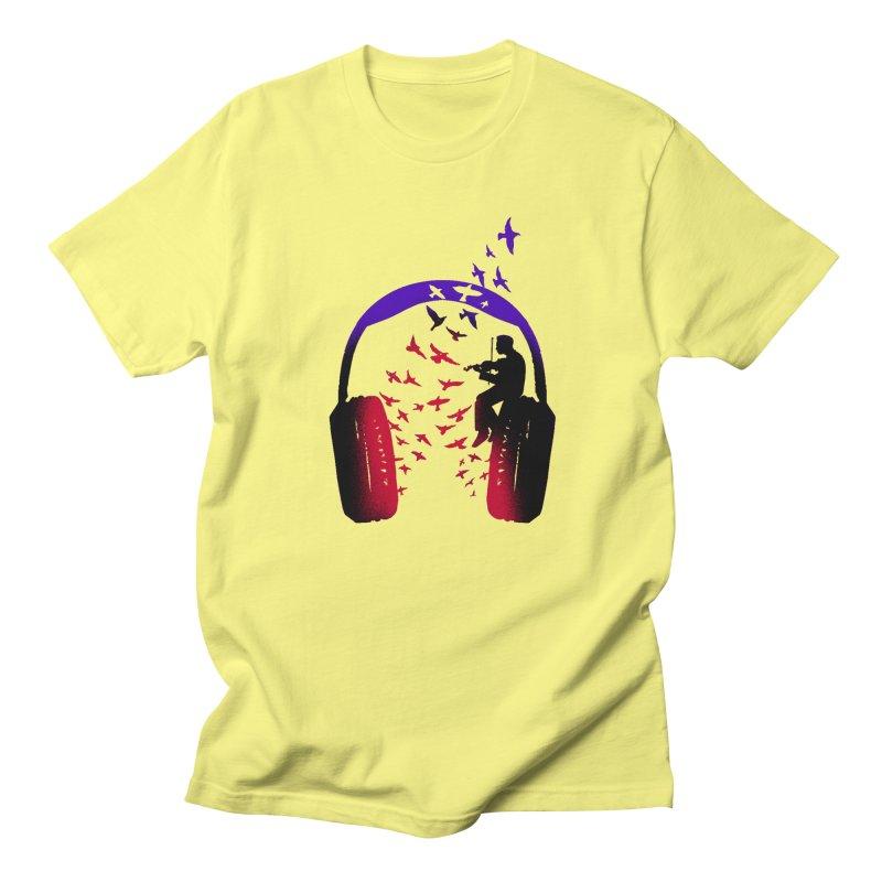 Headphone Music Violin Men's T-Shirt by barmalisiRTB