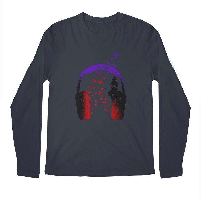 Headphone Music Ukulele Men's Longsleeve T-Shirt by barmalisiRTB