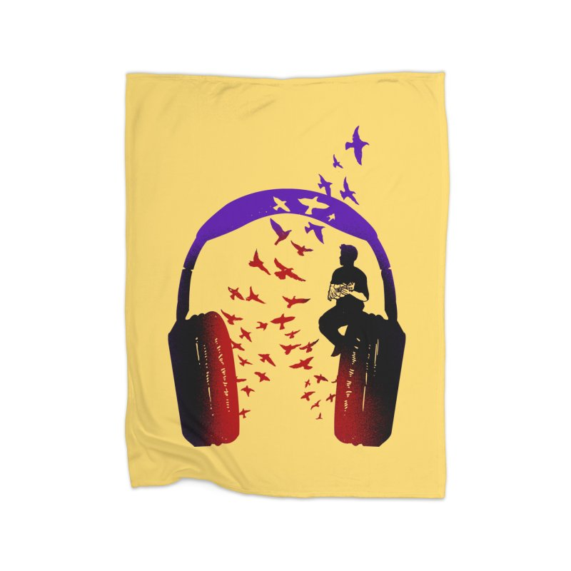 Headphone Music Ukulele Home Blanket by barmalisiRTB