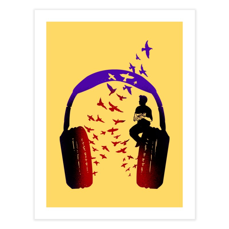 Headphone Music Ukulele Home Fine Art Print by barmalisiRTB