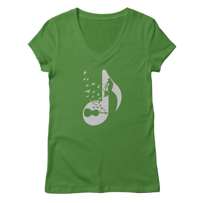 Musical - Cello Women's V-Neck by barmalisiRTB