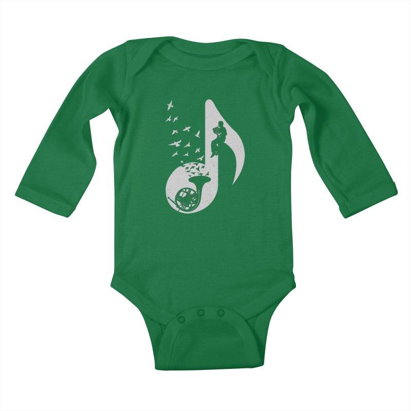 Musical - French Horn Kids Baby Longsleeve Bodysuit by barmalisiRTB