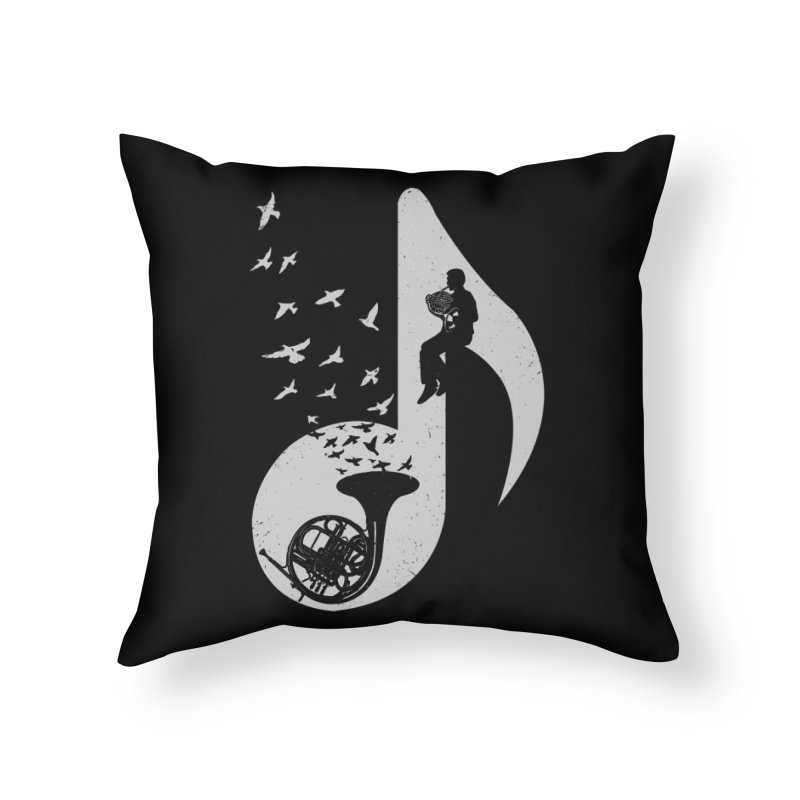 Musical - French Horn Home Throw Pillow by barmalisiRTB