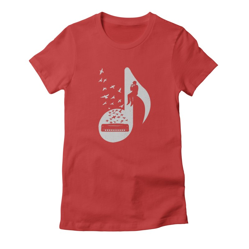 Musical - Harmonica Women's Fitted T-Shirt by barmalisiRTB