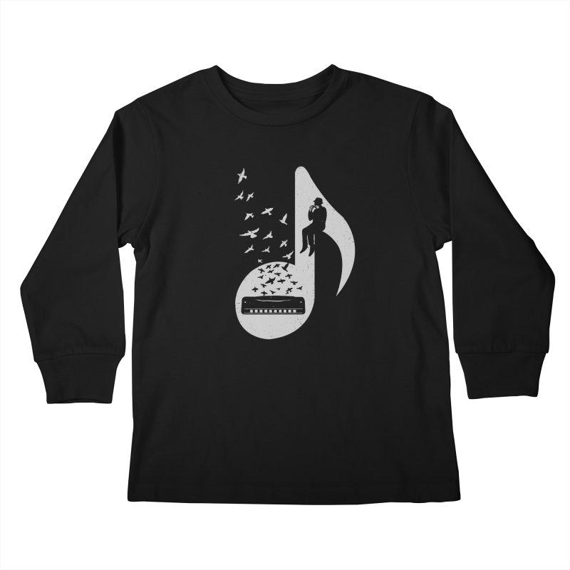 Musical - Harmonica Kids Longsleeve T-Shirt by barmalisiRTB