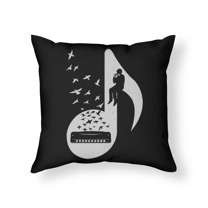 Musical - Harmonica Home Throw Pillow by barmalisiRTB