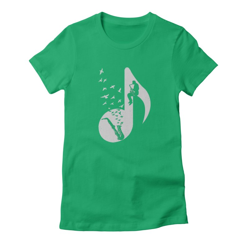 Musical - Saxophone Women's Fitted T-Shirt by barmalisiRTB