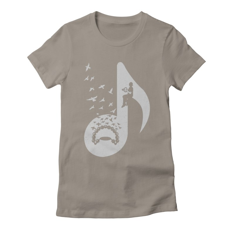Musical note - Tambourine Women's Fitted T-Shirt by barmalisiRTB