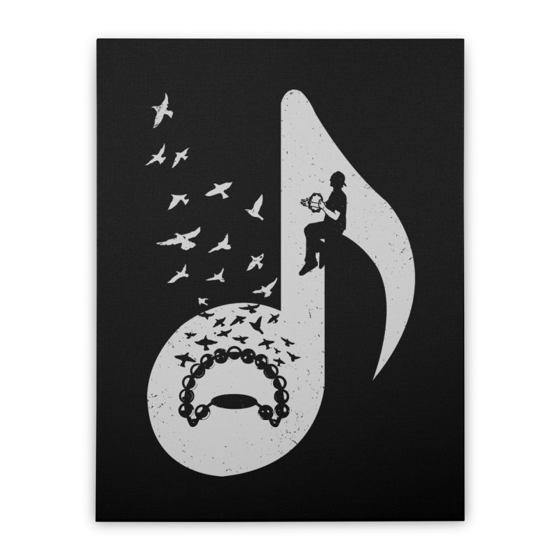 Musical note - Tambourine Home Stretched Canvas by barmalisiRTB