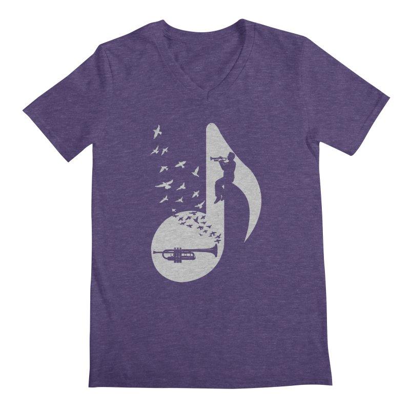 Musical note - Trumpet Men's Regular V-Neck by barmalisiRTB