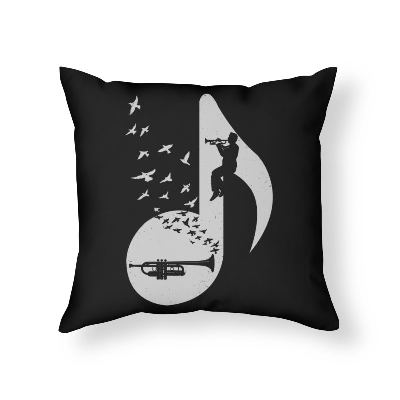 Musical note - Trumpet Home Throw Pillow by barmalisiRTB