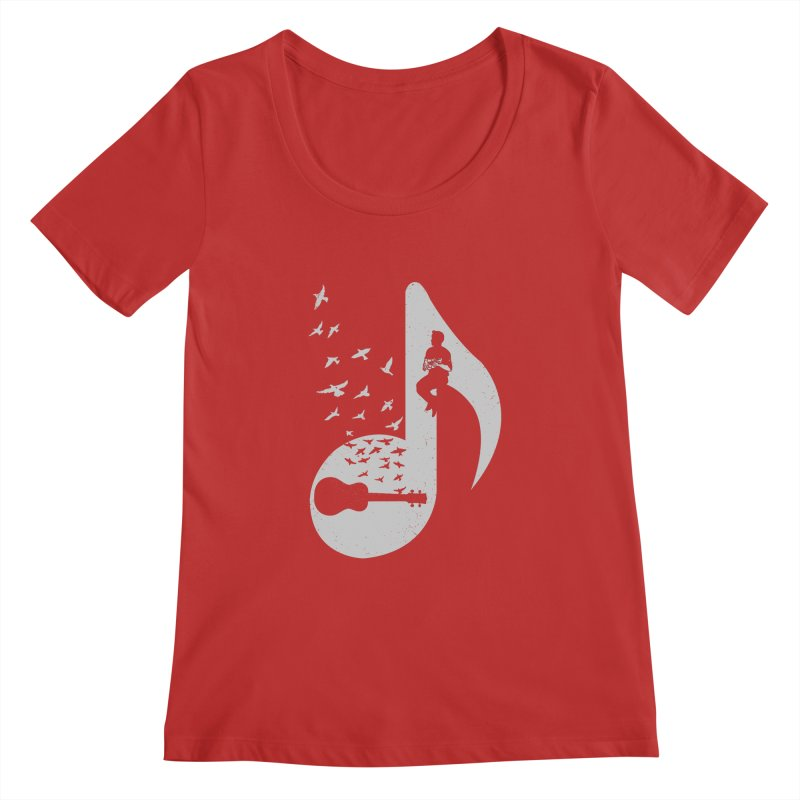 Musical note - Ukulele Women's Scoopneck by barmalisiRTB