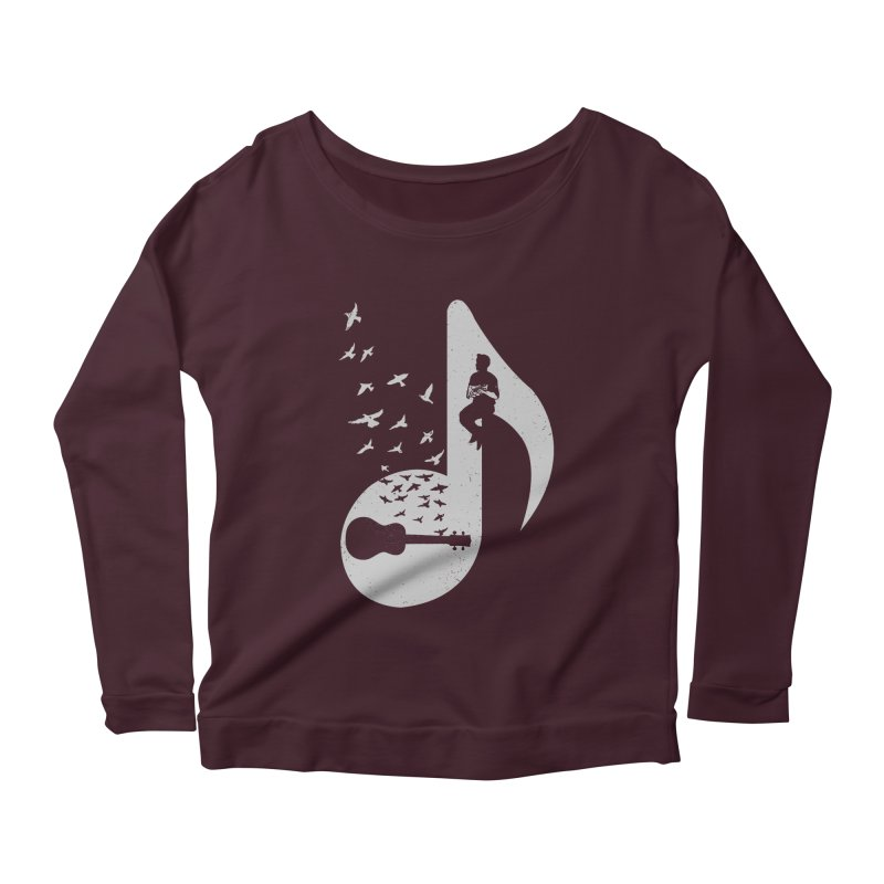 Musical note - Ukulele Women's Scoop Neck Longsleeve T-Shirt by barmalisiRTB