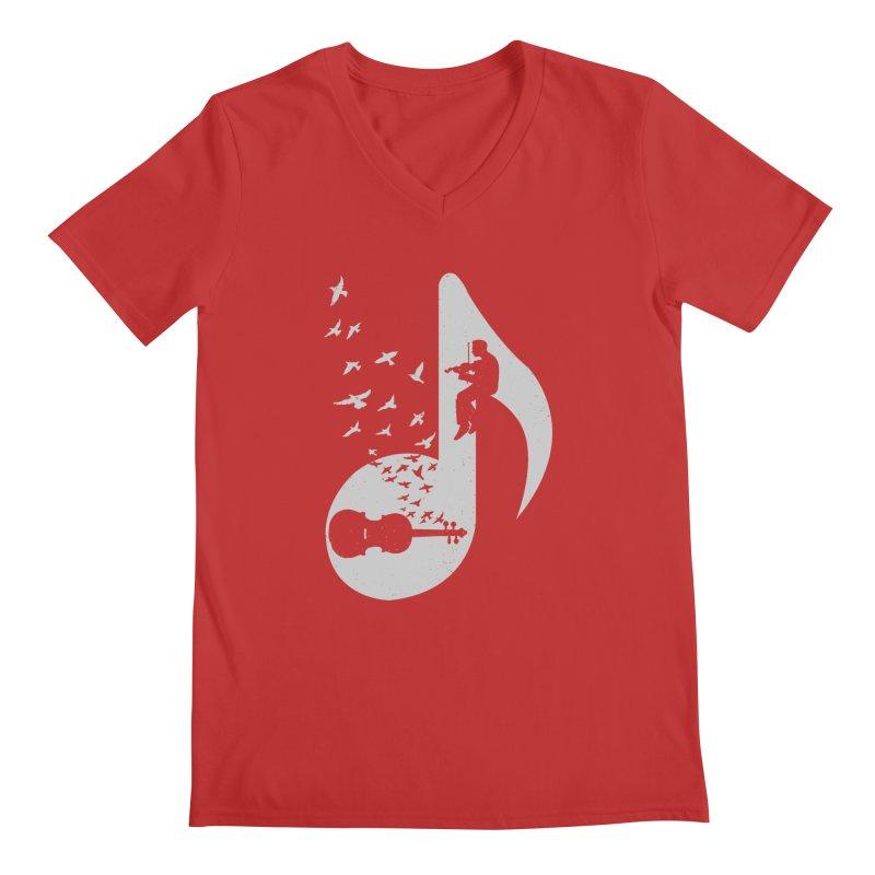 Musical note - Violin Men's Regular V-Neck by barmalisiRTB