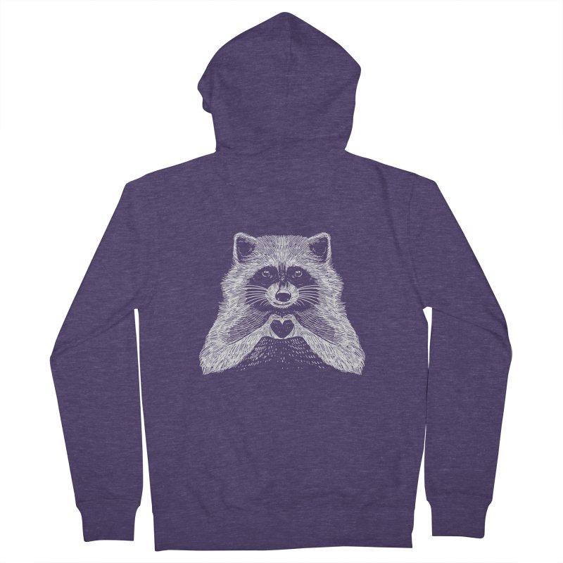 Love Raccoon Men's French Terry Zip-Up Hoody by barmalisiRTB