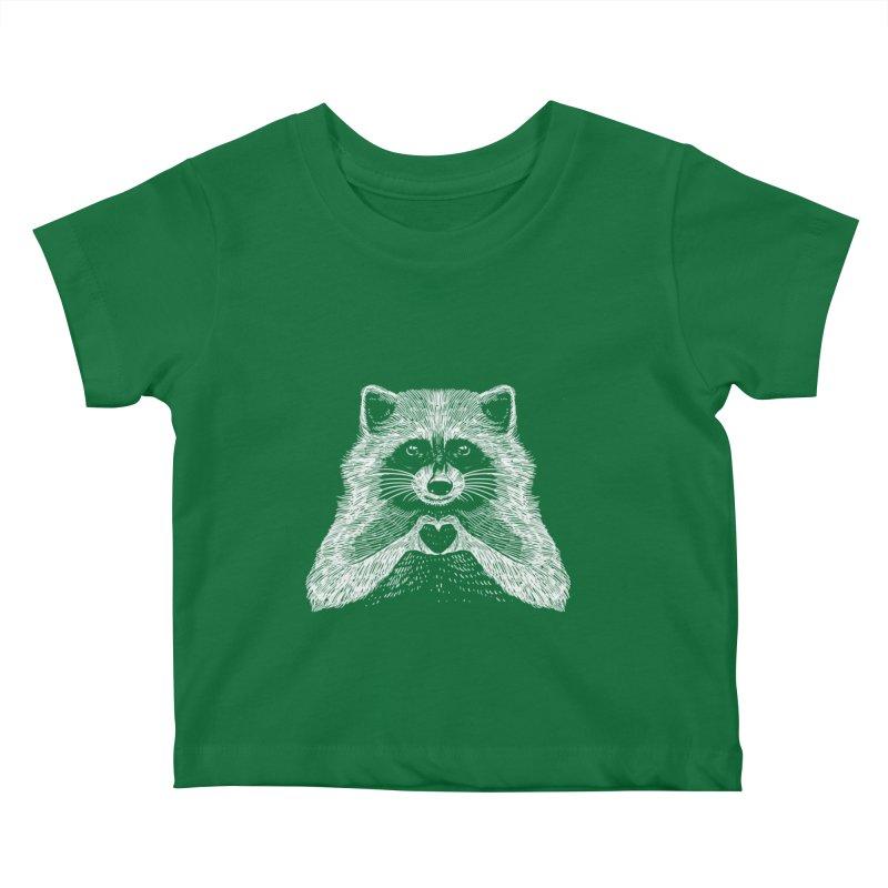 Love Raccoon Kids Baby T-Shirt by barmalisiRTB