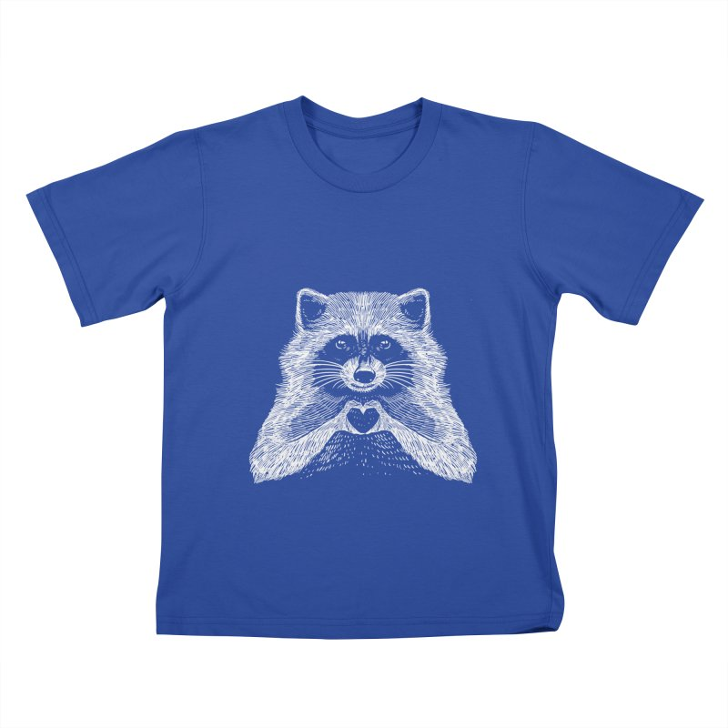 Love Raccoon Kids T-Shirt by barmalisiRTB