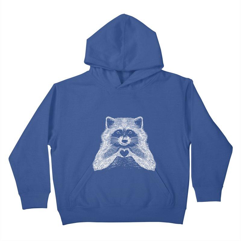 Love Raccoon Kids Pullover Hoody by barmalisiRTB