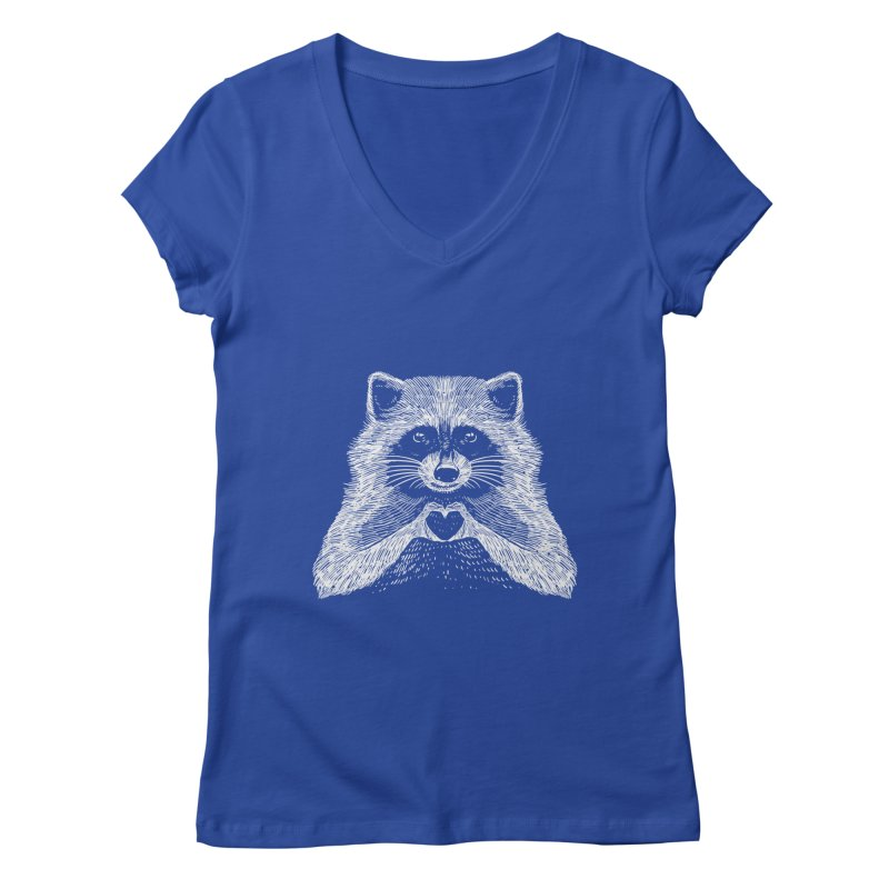 Love Raccoon Women's Regular V-Neck by barmalisiRTB