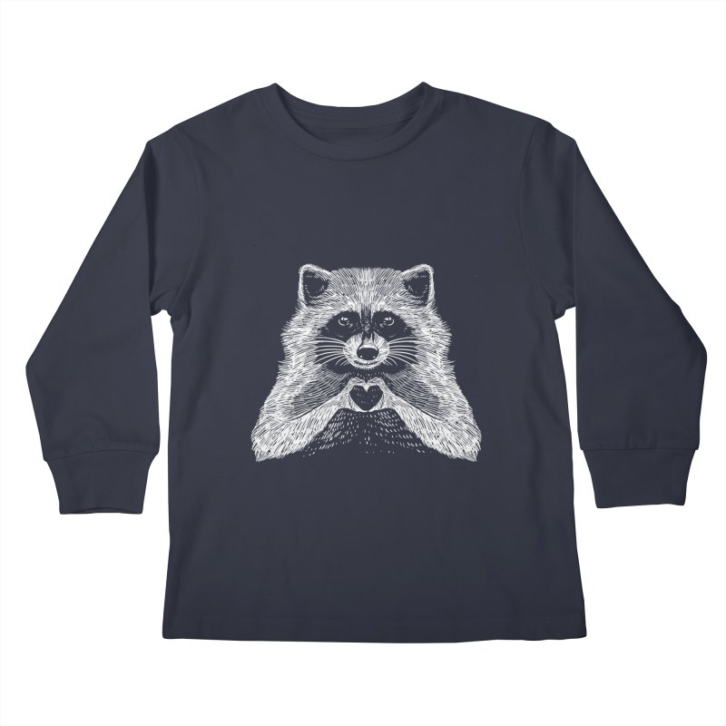 Love Raccoon Kids Longsleeve T-Shirt by barmalisiRTB