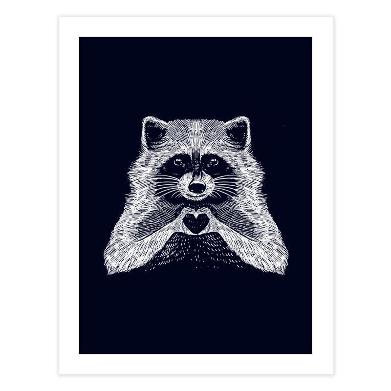 Love Raccoon Home Fine Art Print by barmalisiRTB