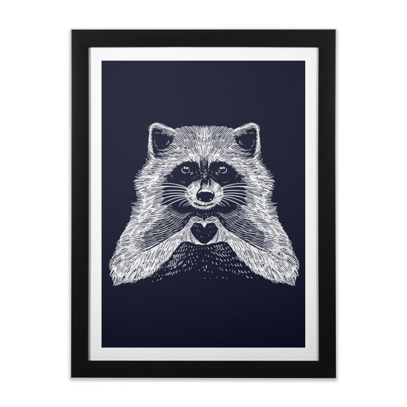 Love Raccoon Home Framed Fine Art Print by barmalisiRTB