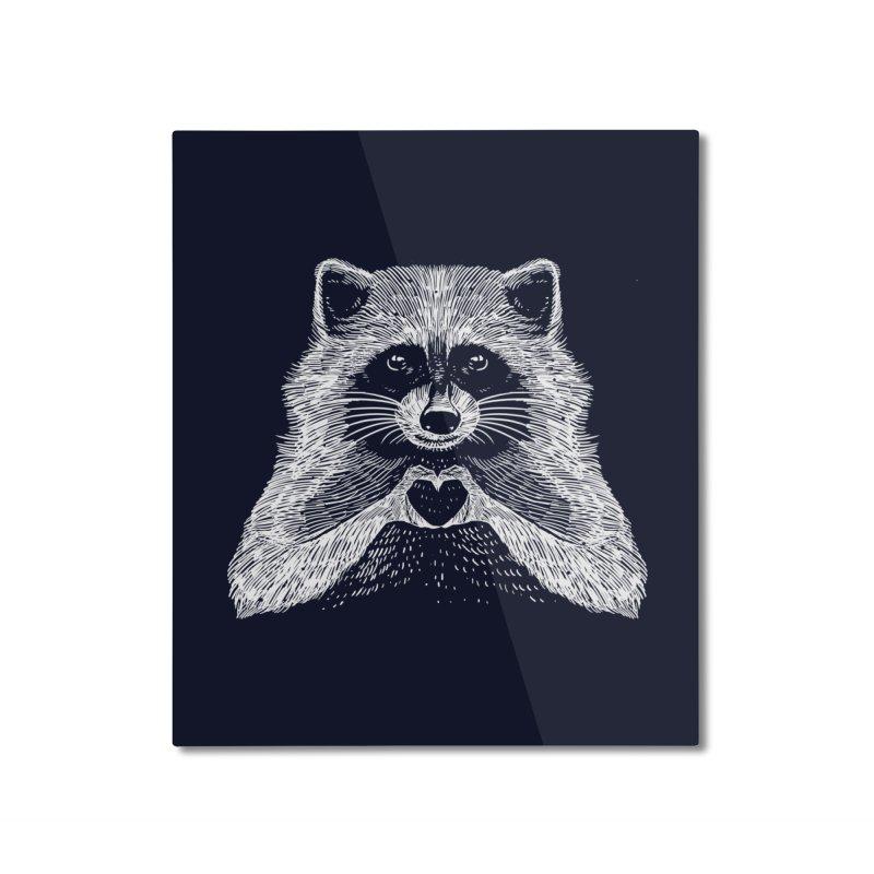 Love Raccoon Home Mounted Aluminum Print by barmalisiRTB