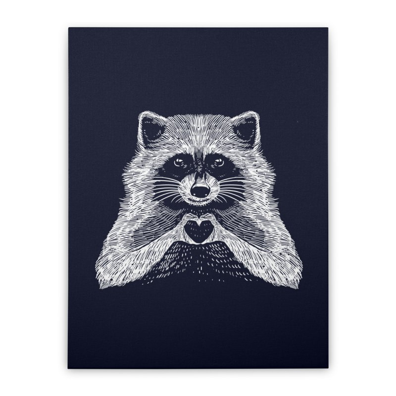 Love Raccoon Home Stretched Canvas by barmalisiRTB