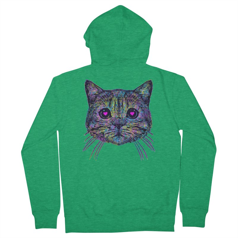 Love Cat Men's French Terry Zip-Up Hoody by barmalisiRTB